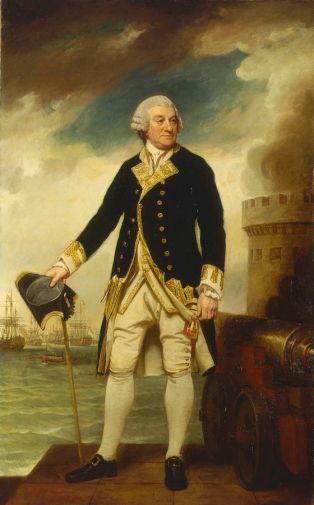 Admiral Sir Francis Geary, painted in 1782/2 by George Romney. He is depicted at his command at Portsmouth. Behind him are the ships of his fleet, including his flagship, HMS Victory. Via Wikimedia Commons