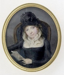 Portrait of young woman dressed in mourning clothes